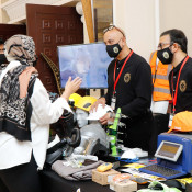 Safety Plus (Raja Trading) talks to visitors at their stand at the HSE UAE Forum